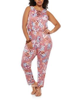 Plus Size Floral Cinched Waist Jumpsuit - 1392038348890