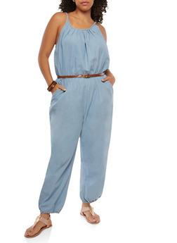 Plus Size Belted Denim Jumpsuit - LIGHT WASH - 1392038349310