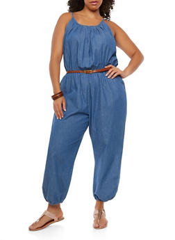 Plus Size Belted Denim Jumpsuit - 1392038349310