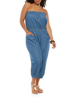 Plus Size Strapless Smocked Denim Jumpsuit - 1392038349313