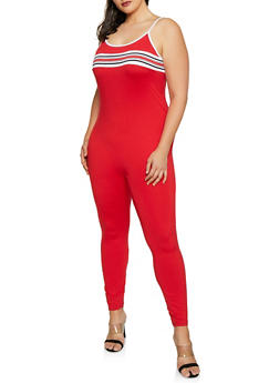 Plus Size Striped Rib Knit Detail Catsuit - 1392038349635