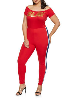Plus Size Slay Foil Graphic Off the Shoulder Catsuit - 1392038349641