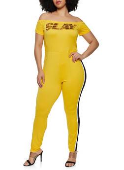 Plus Size Slay Foil Graphic Off the Shoulder Catsuit - 1392038349641