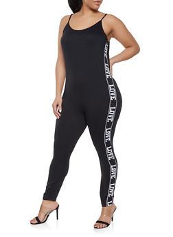5c2346065d5 Plus Size Solid Harem Jumpsuit.  19.97. Plus Size Love Graphic Catsuit -  1392038349642
