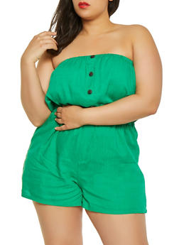 2d7a51cd2b8 Plus Size Strapless Linen Romper - 1392051061283