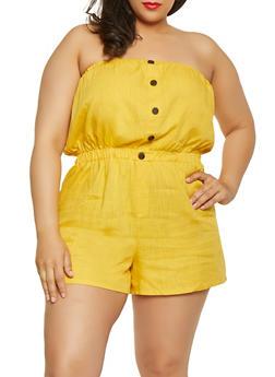 cddf7671d50 Plus Size Off the Shoulder Cropped Gaucho Jumpsuit.  16.99. Plus Size  Strapless Linen Romper - 1392051061283