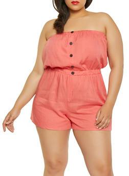530866036e1 Plus Size Strapless Linen Romper - 1392051061283