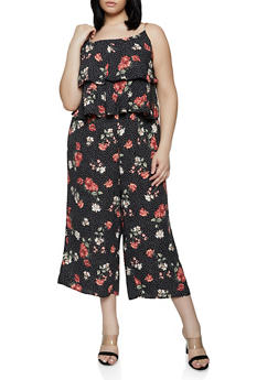 Plus Size Tiered Ruffle Printed Jumpsuit - 1392051061291
