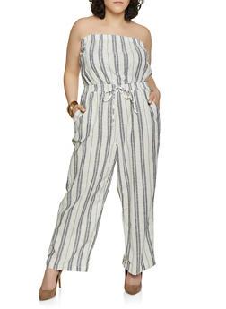 d94b7307e34 Plus Size Striped Linen Palazzo Jumpsuit - 1392051061385