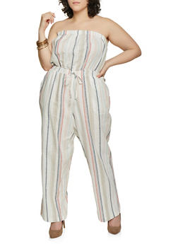 Plus Size Striped Linen Palazzo Jumpsuit - 1392051061385