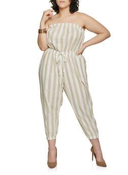 Plus Size Striped Linen Capri Jumpsuit - 1392051061386