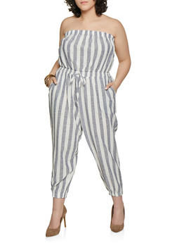 Plus Size Striped Linen Capri Jumpsuit - 1392051061386