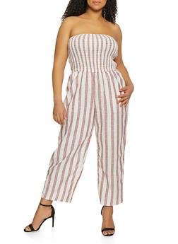 Plus Size Strapless Linen Jumpsuit - 1392051061387