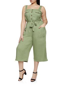 Plus Size Tie Waist Jumpsuit - 1392051061473