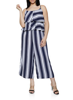 Plus Size Striped Tiered Ruffle Jumpsuit - 1392051062291