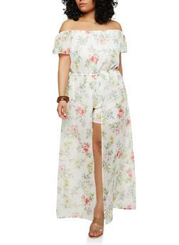89913ccc45052 Plus Size Floral Maxi Romper - 1392051065119