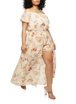 Plus Size Floral Maxi Romper - 1392051065119