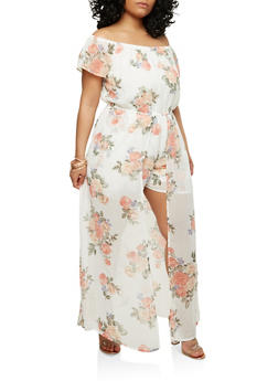Plus Size Off the Shoulder Maxi Romper - 1392051068119