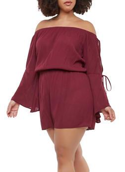 Plus Size Slit Sleeve Off the Shoulder Romper - 1392054260435