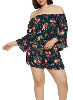 Plus Size Floral Off the Shoulder Romper - 1392054260488