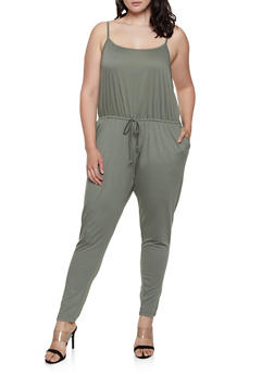 Plus Size French Terry Lined Jumpsuit - 1392054265786