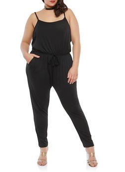Plus Size Low Cut Side Jumpsuit - 1392054266786