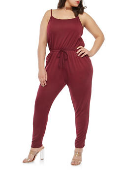 Plus Size Low Cut Side Jumpsuit - 1392054266786