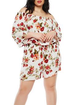 Plus Size Floral Off the Shoulder Romper - 1392054269369