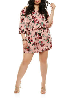 Plus Size Floral Off the Shoulder Romper - 1392054269369