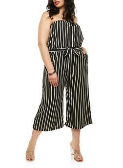 Plus Size Strapless Striped Jumpsuit - 1392054269551