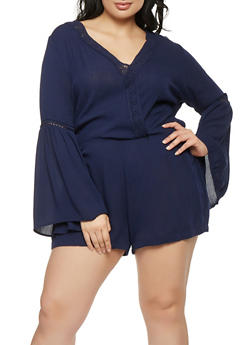 Plus Size Crochet Trim Bell Sleeve Romper - 1392054269905