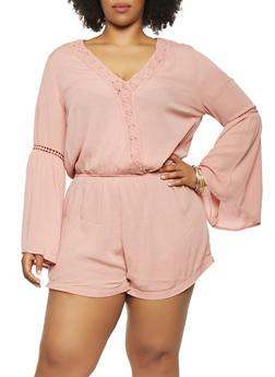 Plus Size Crochet Trim Bell Sleeve Romper - 1392054269905