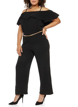 Plus Size Crepe Knit Cold Shoulder Jumpsuit - 1392056127722