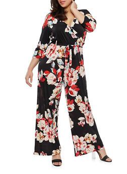 Plus Size Floral Faux Wrap Jumpsuit with Sleeves - 1392056129130