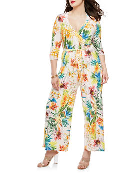 Plus Size Floral Faux Wrap Jumpsuit with Sleeves - 1392056129134