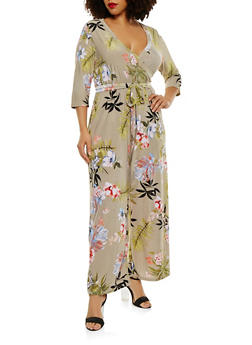 Plus Size Faux Wrap Floral Jumpsuit with Sleeves - 1392056129140