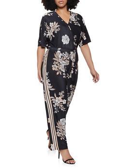 Plus Size Faux Wrap Floral Jumpsuit - 1392056129145