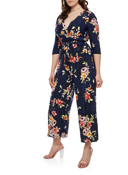 Plus Size Floral Faux Wrap Jumpsuit with Sleeves - 1392056129189