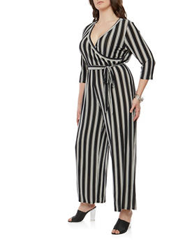 Plus Size Striped Faux Wrap Jumpsuit - 1392056129190