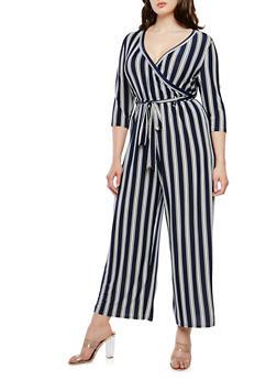 Plus Size Striped Faux Wrap Jumpsuit - 1392056129190