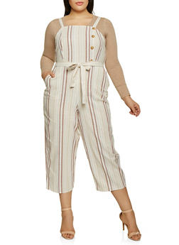 Plus Size Tie Waist Striped Jumpsuit - 1392056129283