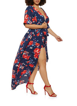 Plus Size Short Sleeve Floral Maxi Romper - 1392058750032