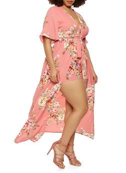 Plus Size Floral Plunge Neck Maxi Romper - 1392058750033