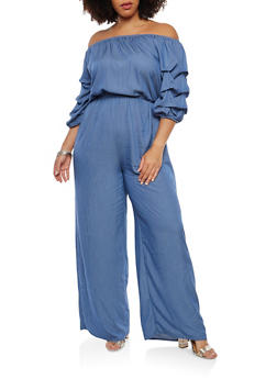 Plus Size Off the Shoulder Chambray Jumpsuit - 1392058750036