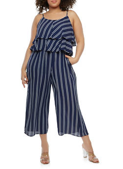Plus Size Striped Crepe Knit Jumpsuit - 1392058750038