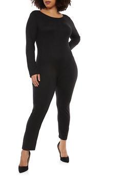 Plus Size Long Sleeve Catsuit - 1392058752591