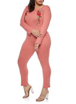 Plus Size Rose Patch Catsuit - 1392058752592