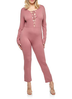 Plus Size Lace Up Soft Knit Jumpsuit - 1392058752596