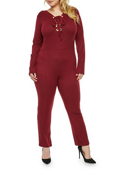 Plus Size Soft Knit Lace Up Front Jumpsuit - 1392058752597