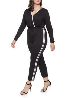 Plus Size Varsity Stripe Soft Knit Jumpsuit - 1392058752795